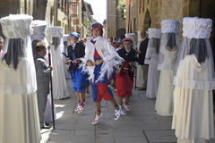 Virgin choir and dancing boys in procession, Spain stock photos