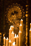 Virgin on easter. Statue of Madonna, the Virgin Mary in the Easter of Cordoba, Spain. These Pasos are carried in procession by Costaleros during the Easter Holy Stock Photos