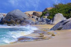 Virgin Gorda, the Baths and Caribbean sea. View of the island of Virgin Gorda and Caribbean sea stock photo