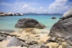 Virgin Gorda rocky shoreline. Beautiful view of the rocky shorelines at Virgin Gorda Royalty Free Stock Image