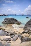 Virgin Gorda rocky shoreline. Beautiful view of the rocky shores at Virgin Gorda Stock Photo