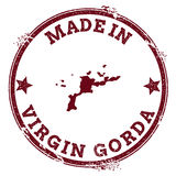 Virgin Gorda seal. Vintage island map sticker. Grunge rubber stamp with Made in text and map outline, vector illustration Stock Images