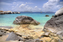 Virgin Gorda stone shoreline. Beautiful view of the stone shoreline at Virgin Gorda Royalty Free Stock Photos