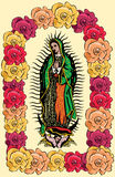 The Virgin of Guadalupe and roses - vector Stock Photo