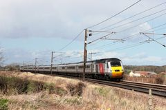 Virgin high speed train on East Coast Main Line Royalty Free Stock Photo