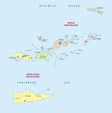 Virgin islands map Royalty Free Stock Photos
