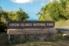 Virgin Islands National Park Sign. The national park on St. John takes up almost 80% of the island. This sign welcomes guest to a stunning overlook stock image