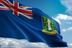 Virgin Islands UK British national flag waving blue sky background realistic 3d illustration royalty free illustration