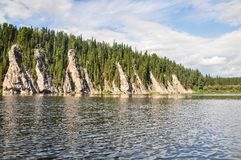 Virgin Komi forests, scenic cliffs on the taiga river Shchugor. The object of UNESCO world heritage in the national Park `Yugyd VA Royalty Free Stock Photos