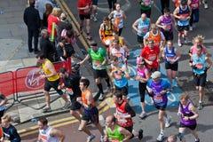 Virgin London Marathon 2012. Runners in 2012 Virgin London Marathon. Westferry Royalty Free Stock Photo