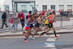 Virgin London Marathon 2012. 16th mile - group of Adil Annani (4th), Jaouad Gharib (5th), Marilson Gomes Dos Santos (8th), Abderrahime Bouramdane (11th),  and Royalty Free Stock Photography