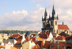 Virgin Maria Tyn church and roofs of Prague. A view to the Church of Virgin Maria Before Tyn and rooftops; Old Town, Prague, Czech republic Royalty Free Stock Photos