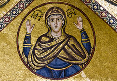 Virgin Mary, 11th century mosaic. Stock Photos