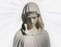 Virgin Mary, the ancient statue (on white background) Stock Images