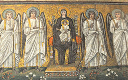 Virgin Mary and Angels. Byzantine UNESCO listed mosaic of the virgin Mary enthroned and flanked by 4 angels, with the infant Jesus on her knee, In the basilica Royalty Free Stock Images