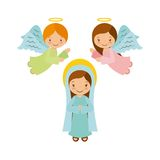 Virgin mary with angels. Over white background. christmas colorful design. vector illustration Stock Illustration