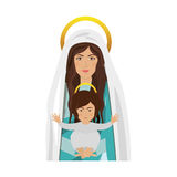 Virgin mary and baby jesus. Cartoon virgin mary with baby jesus in her arms over white background. religious symbol. colorful design. vector illustration Stock Illustration
