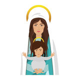 Virgin mary and baby jesus. Cartoon virgin mary with baby jesus in her arms over white background. religious symbol. colorful design. vector illustration Vector Illustration