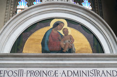 Virgin Mary with baby Jesus. In a lunette, San Petronio Basilica in Bologna, Italy Stock Images