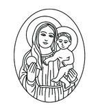 Virgin Mary with baby Jesus Sketch Drawing. Art line vector design Royalty Free Stock Photography