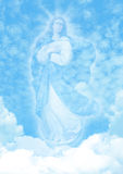 Virgin Mary on Blue Sky Clouds Background Stock Photography