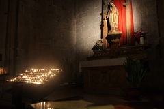 Virgin mary with candles Royalty Free Stock Photos