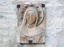 Virgin Mary carved on stone. Royalty Free Stock Photos