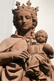 Virgin Mary and Child. The Virgin Mary and Baby Jesus on a building, Mosel, Germany stock images