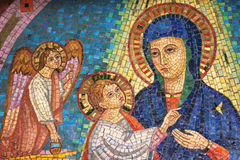 Virgin Mary, the child Jesus and one angel Royalty Free Stock Image