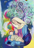 Virgin Mary and child Jesus. Watercolor painting. Stock Image