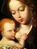 Virgin Mary and child oil painting on panel Royalty Free Stock Image