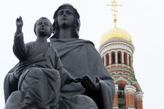 Virgin Mary with the Christ child. Photo Monument of the Virgin Mary with the Christ child in his arms in Yoshkar-Ola. The monument was erected in front of the Stock Images
