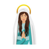 Virgin mary design. Cartoon virgin mary icon over white background. religious symbol. colorful design. vector illustration Royalty Free Illustration