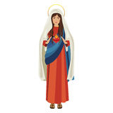 Virgin mary design. Cartoon virgin mary icon over white background. religious symbol. colorful design. vector illustration Stock Illustration
