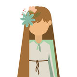 Virgin mary design. Cartoon virgin mary woman with decorative flowers in hair over white background. vector illustration Vector Illustration