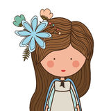 Virgin mary design. Cartoon virgin mary woman smiling and decorative flowers in hair over white background. vector illustration Royalty Free Illustration