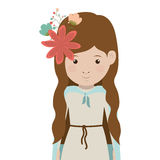 Virgin mary design. Cartoon virgin mary woman smiling and decorative flowers in hair over white background. vector illustration Stock Illustration