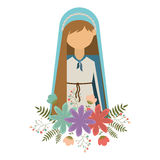 Virgin mary design. Cartoon virgin mary woman smiling and wearing blue mantle and decorative colorful flowers ornament over white background. vector illustration Vector Illustration