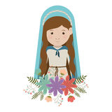 Virgin mary design. Cartoon virgin mary woman smiling and wearing blue mantle and decorative colorful flowers ornament over white background. vector illustration Royalty Free Illustration