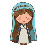 Virgin mary design. Cartoon virgin mary woman smiling and wearing blue mantle over white background. vector illustration Royalty Free Illustration