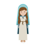 Virgin mary design. Cartoon virgin mary woman smiling and wearing blue mantle over white background. vector illustration Stock Illustration