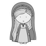 Virgin mary design. Cartoon virgin mary woman smiling and wearing  mantle over white background. vector illustration Royalty Free Illustration