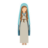 Virgin mary design. Cartoon virgin mary woman wearing blue mantle over white background. vector illustration Royalty Free Illustration