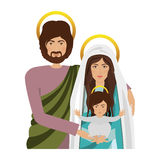 Virgin mary design. Virgin mary and saint joseph with baby jesus icon over white background. religious symbol. colorful design. vector illustration Royalty Free Illustration