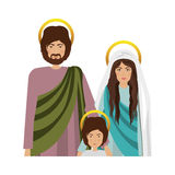 Virgin mary design. Virgin mary and saint joseph with baby jesus  icon over white background. religious symbol. colorful design. vector illustration Vector Illustration