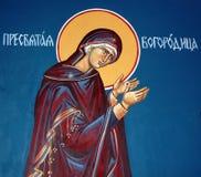 Virgin mary, fresco do ortodox fotografia de stock