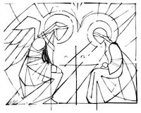 Virgin Mary and Gabriel Archangel at the Annunciation Stock Photo