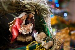 Virgin Mary gave birth to Jesus, and it lies in the crib Royalty Free Stock Images