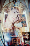 Virgin Mary ghostly image reflection in church Royalty Free Stock Images