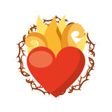 Virgin mary heart with flames Royalty Free Stock Photography